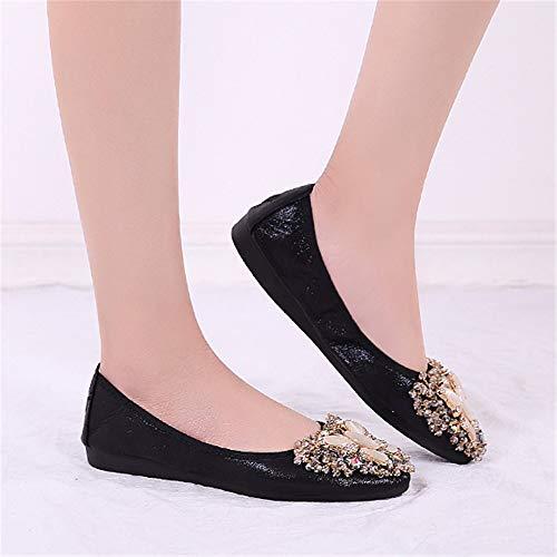 Plegables de Plegables Diamantes de Las 42 de FLYRCX Encaje Bombas retráctil Zapatos UE de imitación EU de Mujeres Viaje Plegables de de Negros 38 Acentuados Plano Zapatos portátil Ballet 7tqBPx