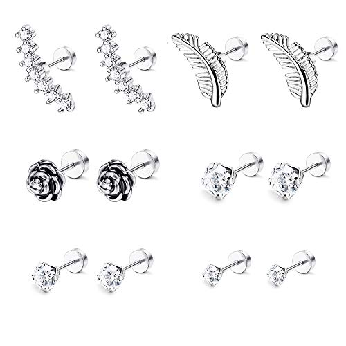 LOYALLOOK 6-8 Pairs 16G Stainless Steel Flower Feather Cartilage Cubic Zirconia Inlaid Helix Hoop Stud Earrings Tragus Piercing Jewelry for Men Women (Best Jewelry For Tragus Piercing)
