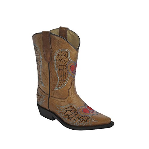CORRAL Kids' Antique Saddle Wing and Heart Embroidery Snip Toe Cowboy Boots G1257 (10.5 D(K) US) ()