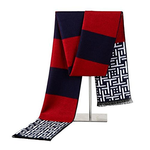 GERGER BO Mother's Day Fashion Cashmere Silk Warm Collar Shawl Wrap For Men(Red) (Lace Keyhole Fingerless Gloves)