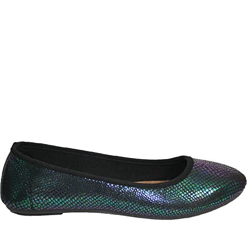 Dawgs Dames Kaymann Ballet Slippers Slangenprint In Blauw Iriserend