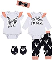 bakjuno Baby Girls Deer Outfit Little Sister Clothes Daddy Girl Pant Set