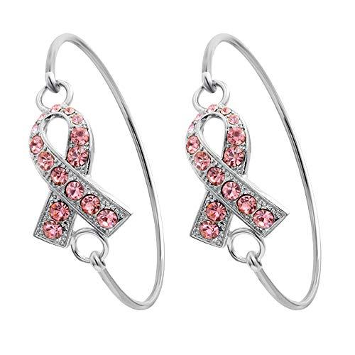 SENFAI Pink Ribbon Breast Cancer Support Survivor Bracelet Engraved Gift Jewelry for Cancer Survivor or Patient (2 pcs Set Silver) -