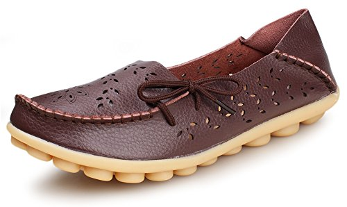 Kunsto Women's Leather Casual Loafer Shoes Brown(floral)