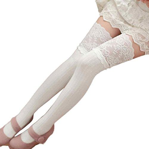 Chaussettes Dhiver, Egmy Femmes Fille Hiver Au-dessus Du Genou Jambières Chaudes En Coton Doux Chaussettes Legging Blanc