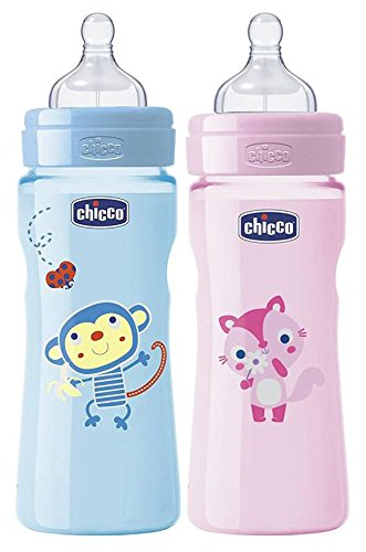 7c00ab73e Chicco Well Being Bottle Baby Feeding Bottle, 250ml (Blue and Pink) - Set  Of 2