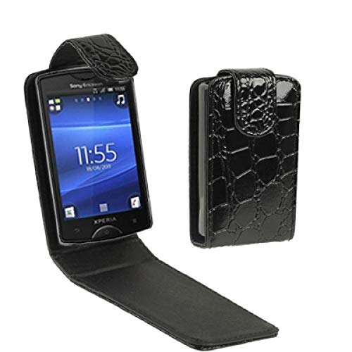 (#52) High Quality Leather Case for compatible with : Sony Ericsson ST15i(Black)