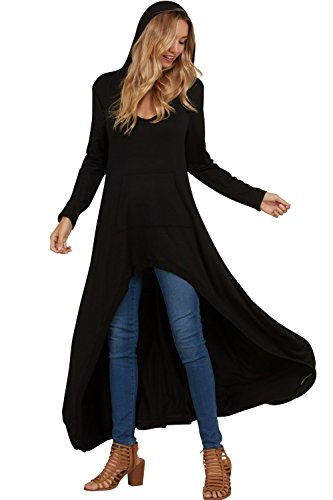 Annabelle Women's Comfy Long Sleeve French Terry High Low Dressy Tunic Hoodie Tops with Pockets Black Small - Tunic Hoodie