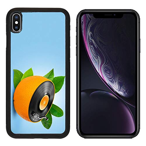 Luxlady Apple iPhone XR Case Aluminum Backplate Bumper Snap Cases Image ID: 23911081 Musical Background with a Vinyl disc and Orange