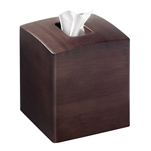 mDesign Square Bamboo Facial Tissue Box Cover Holder for Bathroom Vanity Counter Tops, Bedroom Dressers, Night Stands, Desks and Tables - Espresso