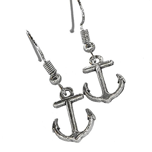 Hypoallergenic Silver Anchor Earrings for Women And Girls Drop Dangle Earring Set (Earrings Drop Anchor)