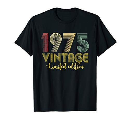 Vintage 1975 T-Shirt Born in 1975 Retro 44th Birthday Gifts