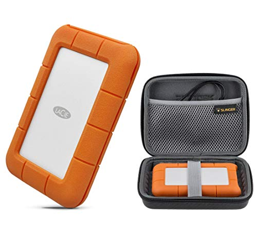 LaCie Rugged Thunderbolt USB-C 2TB Portable External Hard Drive HDD USB 3.0 Compatible for Mac and PC (STFS2000800), with Slinger Hard Drive Case