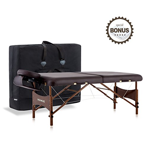DR.LOMILOMI 30″ Walnut Finish Portable Massage Table W301 Spa Bed with Carry Case and Cover Sheet Set (Brown)