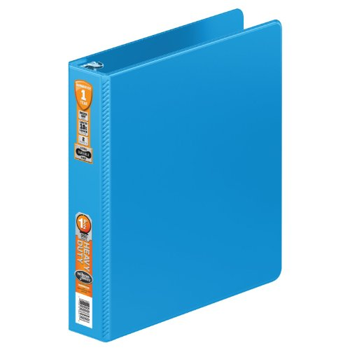Wilson Jones Heavy Duty Round Ring Binder with Extra Durable Hinge, 1.5-Inch, Light Blue (W364-34-2925) (Light Blue Binders)