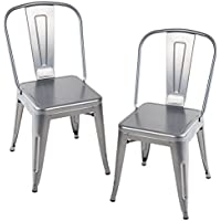 Merax Larger Seat Series Metal Dining Chairs Set of 2 for Bistro/Cafe Tolix Style (Polished Silver)