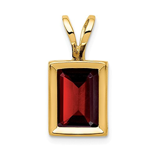 14k Yellow Gold 7x5mm Red Garnet Bezel Pendant Charm Necklace Gemstone Fine Jewelry Gifts For Women For Her ()