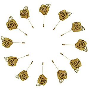WeddingBobDIY 12Pieces/lot Groom Boutonniere Wedding Silk Rose(3.5cm) Flowers Accessories Prom Pin Man Suit Decoration (Gold2)