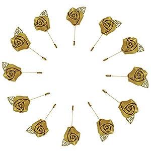WeddingBobDIY 12Pieces/lot Groom Boutonniere Wedding Silk Rose(3.5cm) Flowers Accessories Prom Pin Man Suit Decoration (Gold2)