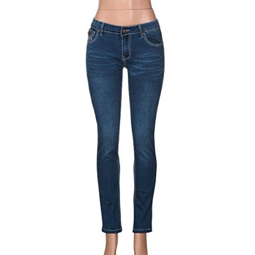 Jeans strappato slim foro skinny a Pantaloni Destroy Aimee7 Pantaloni blu Cerniera skinny donna matita scuro con AxI74U