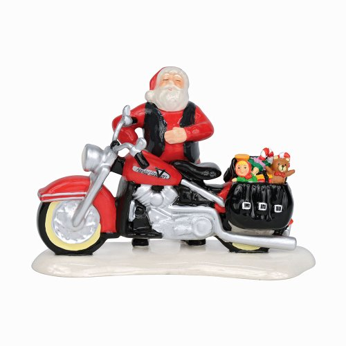 Department 56 Snow Village Santa's New Sleigh is a Harely Accessory Figurine, 3.39 inch Dept 56 Harley Davidson