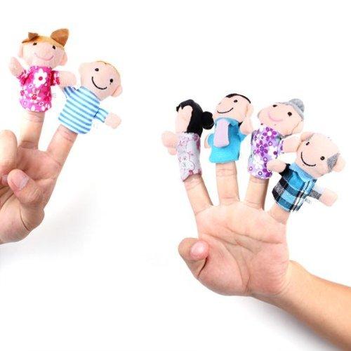 SupplyEU 6 Stk. Fingerpuppen Familien Handpuppen Stoffpuppe Puppe Set für Kinder
