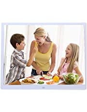 WSYN ATCC 15-inch Digital Photo Frame Electronic Photo Frame Ultra-Narrow Side Support 1080P Wall-Mounted Advertising Machine(Black) (Color : White)