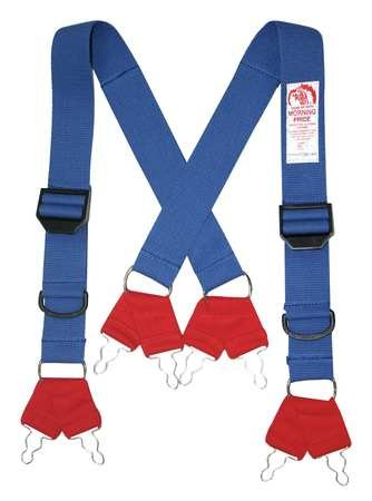 Fire Fighting Pant Suspenders, Blue/Red, Non Flame Resistant Cotton and Elastic Webbing, Regular by Morning Pride