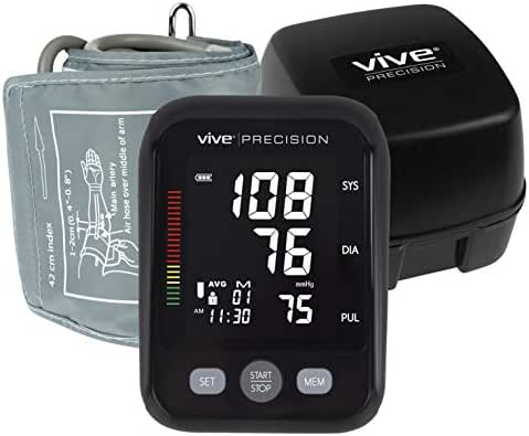 Vive Precision Blood Pressure Cuff - Automatic Mini Monitor - Small, Compact BPM Machine - Large Upper Arm Sphygmomanometer for Accurate BP Meter, Pulse, Heart Rate, Heartbeat Readings - Large Display