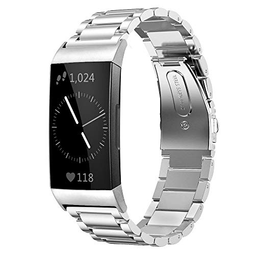Shangpule Compatible for Fitbit Charge 3 & Charge3 SE Bands, Stainless Steel Metal Replacement Strap Bracelet Wrist Band Accessories for Charge 3 Smart Watch Women Man Large Small (Silver)
