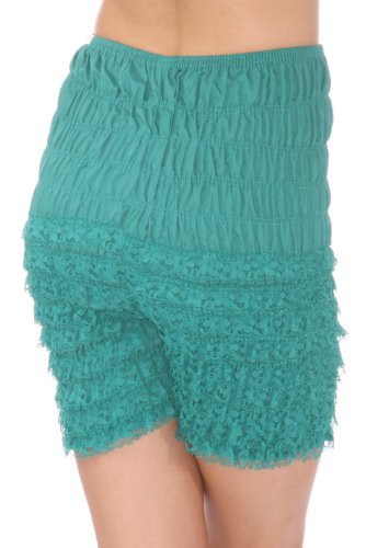 Malco Modes Womens Ruffle Panties Bloomers Dance Bloomers for Sissy Victorian X-Small (Jade Satin Garter)