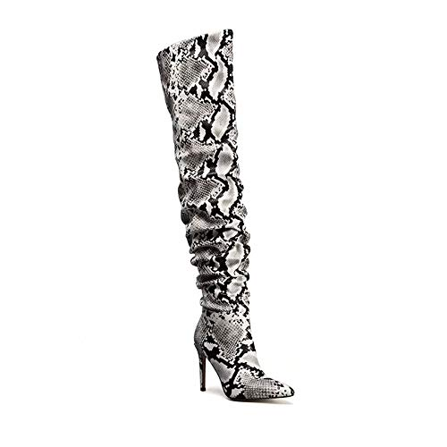 5701e54e50f Amazon.com  perixir Slouch Thigh High Boot Snake Skin Over The Knee Boots  Sexy Super High Thin Heel Pleated Pointed Toe Botte Femme Talon  Shoes