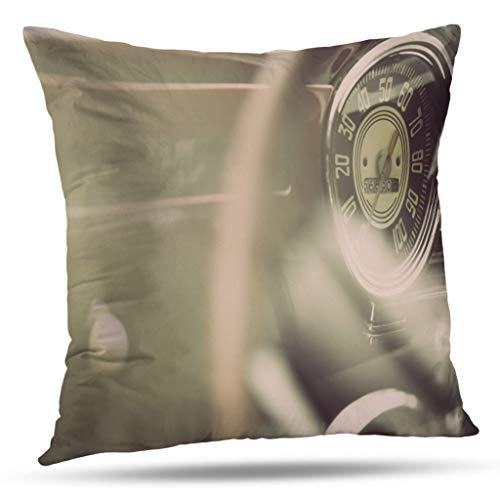 Kutita Vintage Car Decorative Pillow Covers, Color Horizontal Shot Speedometer Vintage Car Car Vintage Classic Throw Pillow Decor Bedroom Livingroom Sofa 18X18 inch