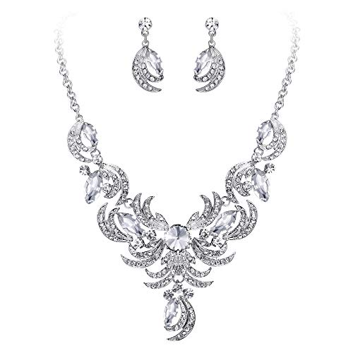 BriLove Women's Wedding Bridal Crystal Floral Leaf Statement Necklace Dangle Earrings Set Clear Silver-Tone