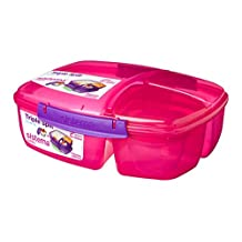 Sistema Lunch Collection Triple Split Lunch Box with Yogurt Pot Food Storage Container, 67.6 oz, Pink