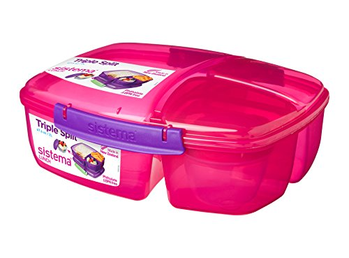 Split Food Container (Sistema Lunch Collection Triple Split Lunch Box with Yogurt Pot Food Storage Container, 67.6 oz, Pink)
