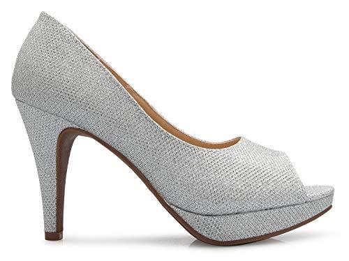 Comfortable Silver High Toe ��s Basic Open K Pumps Heel OLIVIA Women Glitter Sexy wOH6vxSq