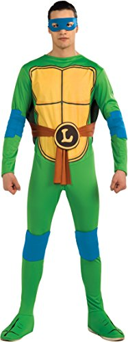Tmnt Costumes Adults (Nickelodeon TMNT Adult Leonardo and Accessories, Green, Standard Costume)