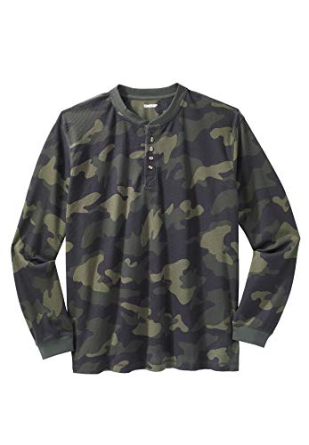 KingSize Men's Big & Tall Waffle Knit Thermal Henley Tee, Olive Camo Tall-3XL ()