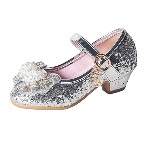 O&N Girls Kids Childrens Bow Low Heel Party Wedding Mary Jane Glitter School Dress Shoes A-silver 12.5 M US Little Kid