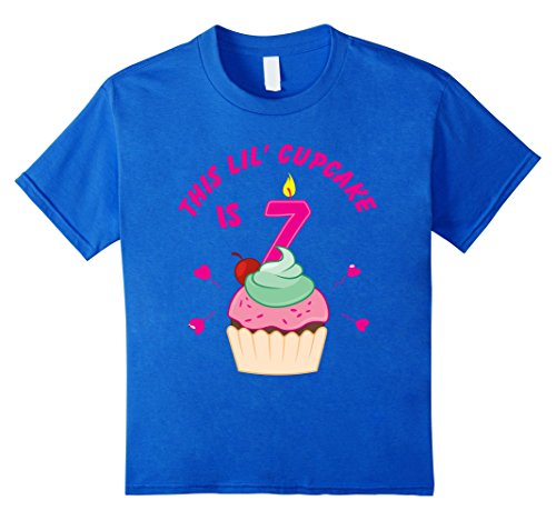 Kids 7th Birthday Girls Cupcake T-Shirt Party 7 Year Old ...