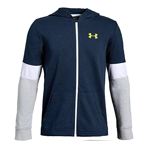 Under Armour Boys' Rival Terry Full Zip Sweat Shirt, Academy//Lima Bean, Youth Large