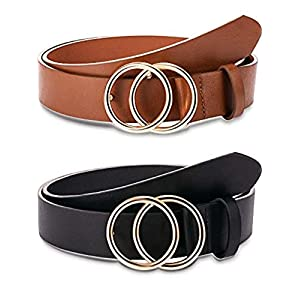 2 Pieces Women Leather Belt Faux Leather Waist Belts with Double O-Ring Buckle