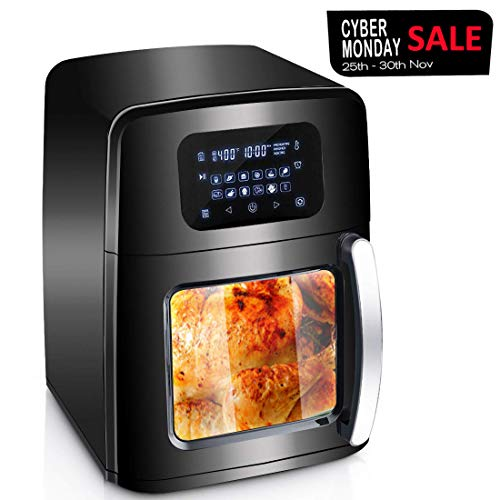 XL Air Fryer Oven with Large Viewing Window, Electric Hot Deep Fryer Combine with Food Dehydrator, 12 Pre-Set Digital Programs, LED Touchscreen, 7-Piece Accessories, Rotisserie, Auto Stirring – 1700W