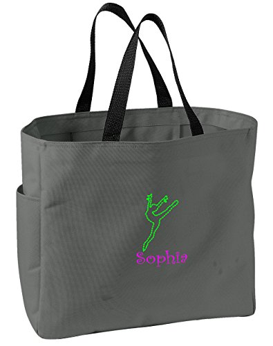 Dance Embroidered Tote (Personalized Embroidered Dance 2 Sport Essential Tote Bag (Charcoal))