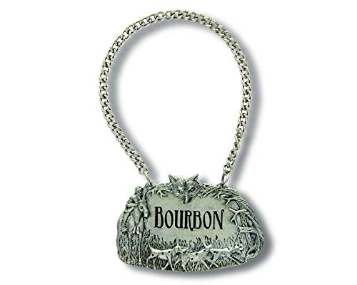 - Vagabond House Embossed Pewter Hunting Scene BOURBON Decanter Tag/Liquor Bottle Label 2.5