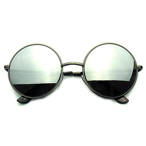 Emblem Eyewear - Round Metal Mirrored Lens Sunglasses (Black, - It Review Sunglasses