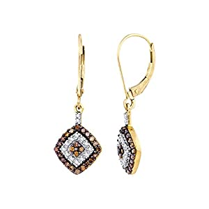 Cognac and White Diamond Dangle Earrings in 10K Yellow Gold (1/2 cttw)