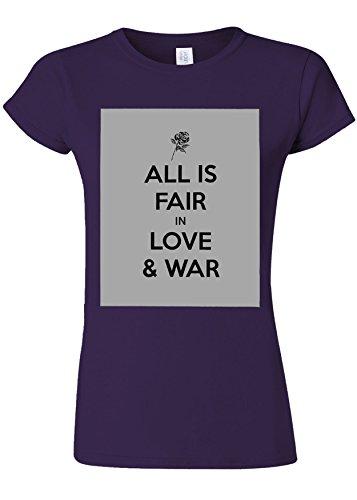 無駄だフェローシップ章All Is Fair In Love And War Quote Novelty Purple Women T Shirt Top-XL