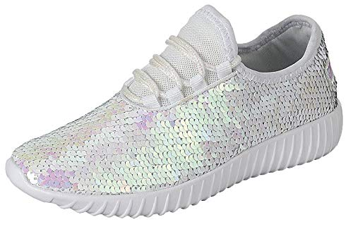 The Collection Jill Womens Athletic Shoes Casual Breathable Sneakers, Sequin White, 7 ()